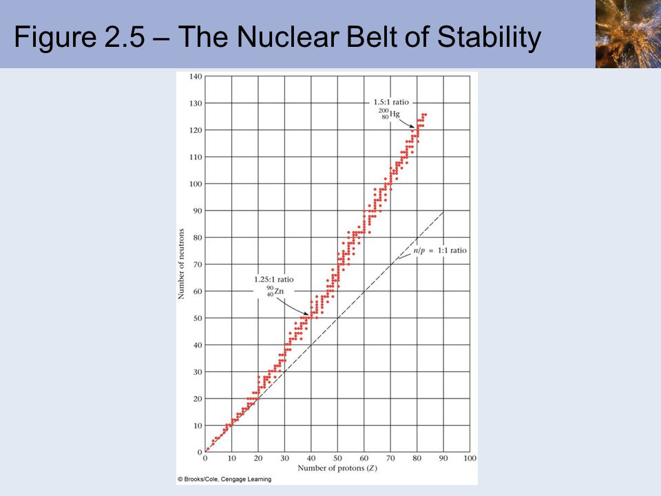 Figure 2.5 – The Nuclear Belt of Stability