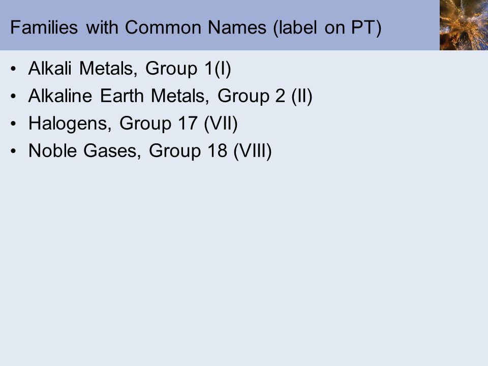 Families with Common Names (label on PT) Alkali Metals, Group 1(I) Alkaline Earth Metals, Group 2 (II) Halogens, Group 17 (VII) Noble Gases, Group 18 (VIII)
