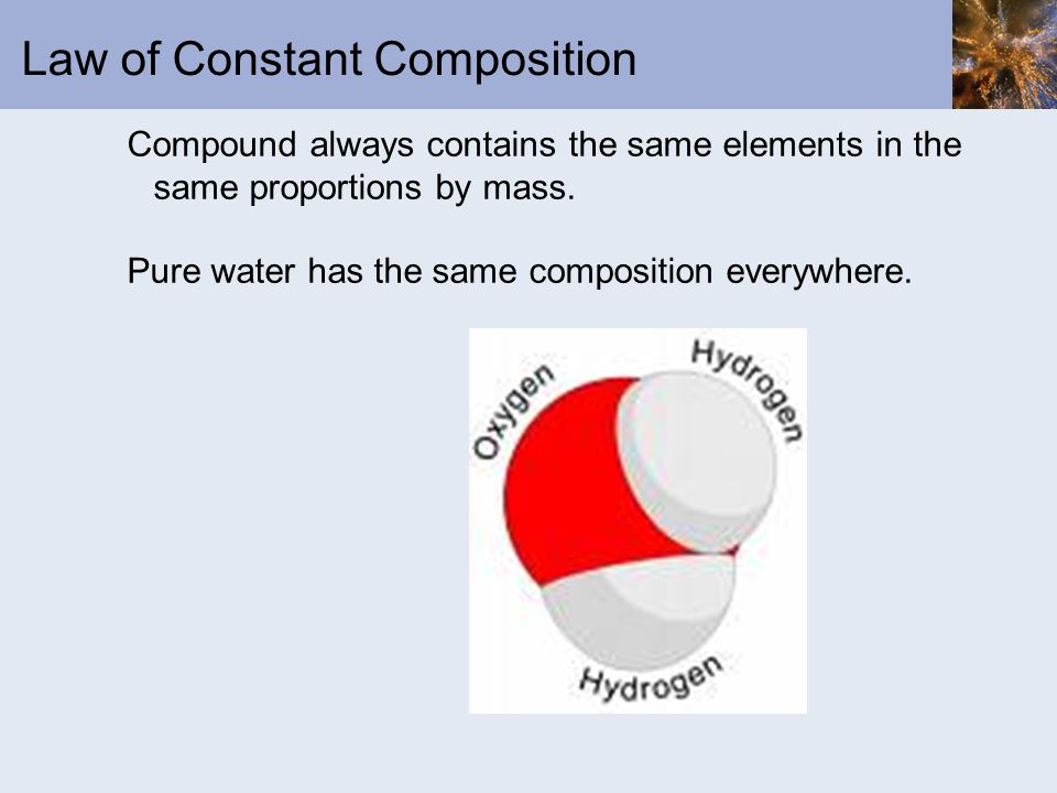 Law of Constant Composition Compound always contains the same elements in the same proportions by mass.