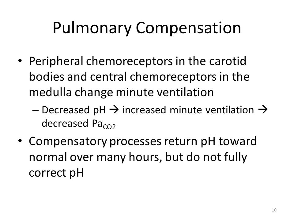 Pulmonary Compensation Peripheral chemoreceptors in the carotid bodies and central chemoreceptors in the medulla change minute ventilation – Decreased pH  increased minute ventilation  decreased Pa CO2 Compensatory processes return pH toward normal over many hours, but do not fully correct pH 10