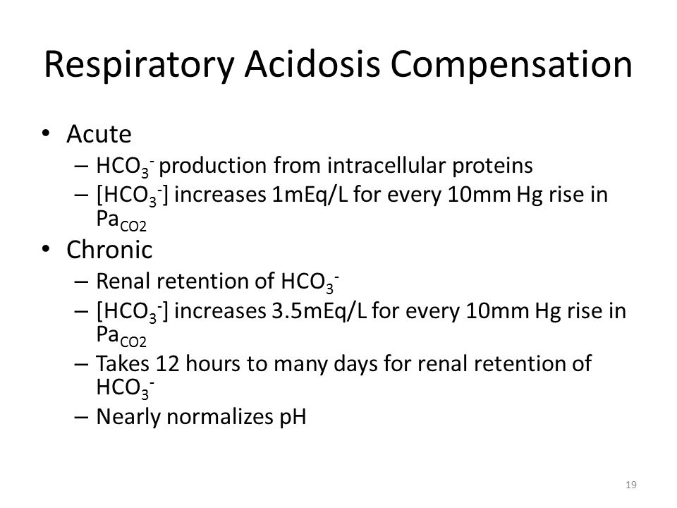 Respiratory Acidosis Compensation Acute – HCO 3 - production from intracellular proteins – [HCO 3 - ] increases 1mEq/L for every 10mm Hg rise in Pa CO2 Chronic – Renal retention of HCO 3 - – [HCO 3 - ] increases 3.5mEq/L for every 10mm Hg rise in Pa CO2 – Takes 12 hours to many days for renal retention of HCO 3 - – Nearly normalizes pH 19