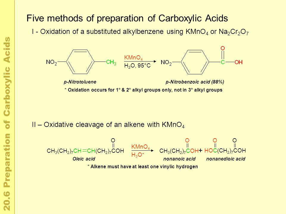 2 0. 6 P r e p a r a t i o n o f C a r b o x y l i c A c i d s Five methods of preparation of Carboxylic Acids I - Oxidation of a substituted alkylben
