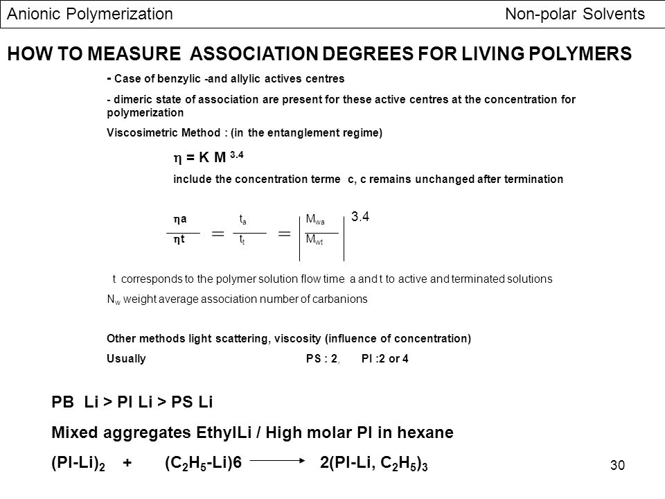 30 HOW TO MEASURE ASSOCIATION DEGREES FOR LIVING POLYMERS - Case of benzylic -and allylic actives centres - dimeric state of association are present f
