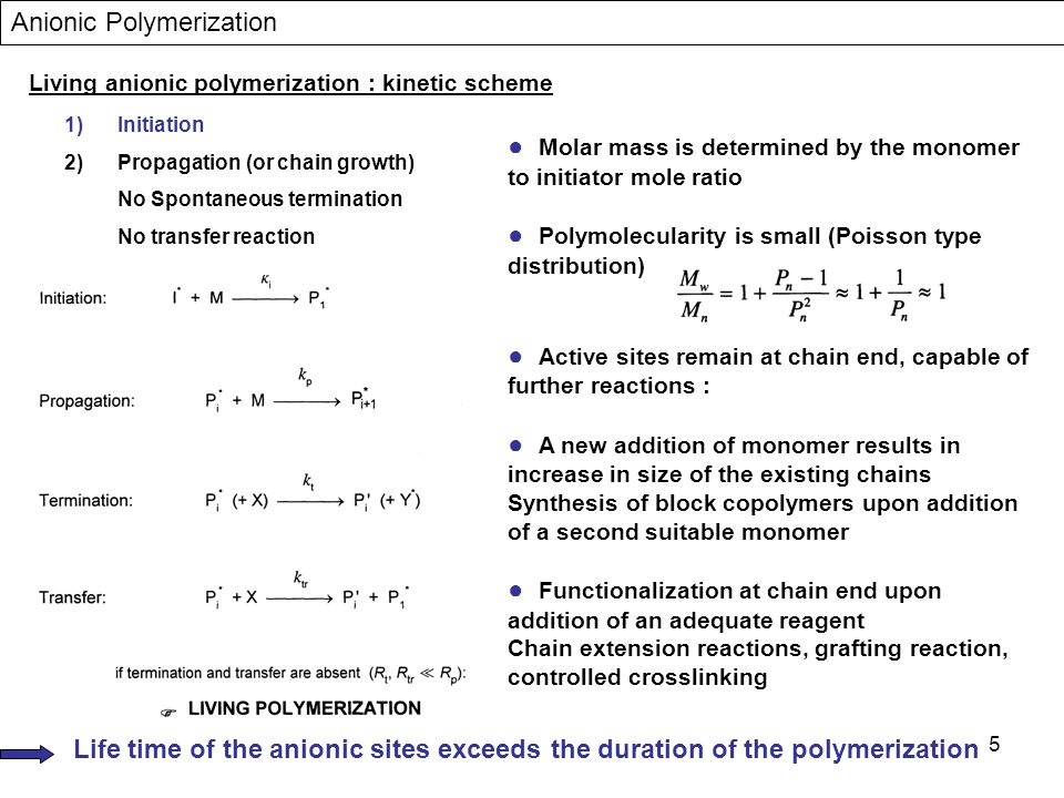 5 Living anionic polymerization : kinetic scheme 1)Initiation 2)Propagation (or chain growth) No Spontaneous termination No transfer reaction Anionic