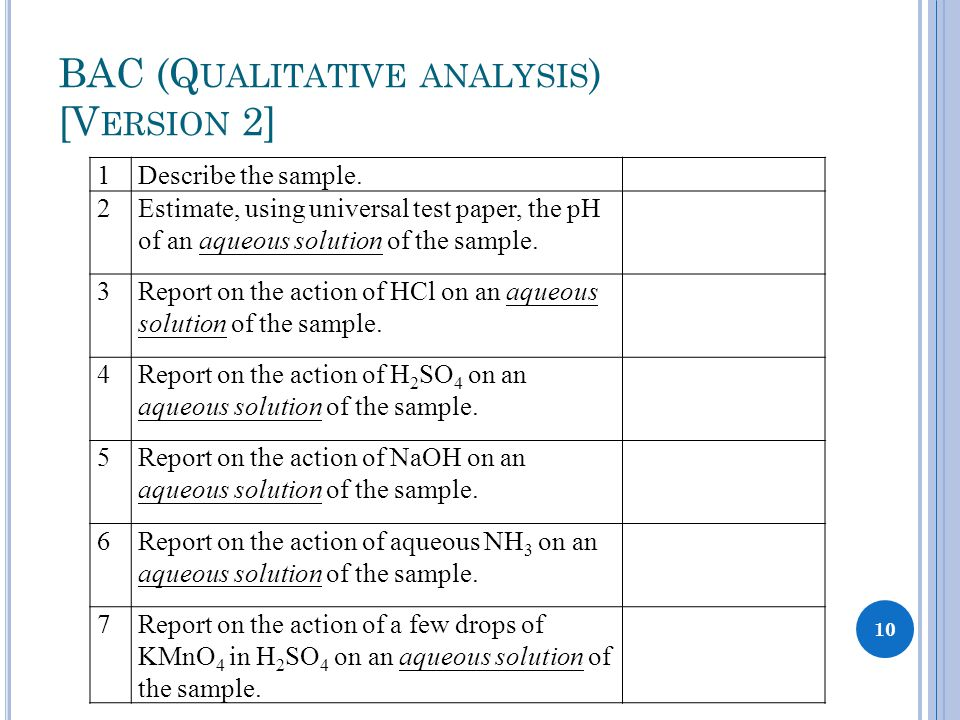 BAC (Q UALITATIVE ANALYSIS ) [V ERSION 2] 1Describe the sample. 2Estimate, using universal test paper, the pH of an aqueous solution of the sample. 3R