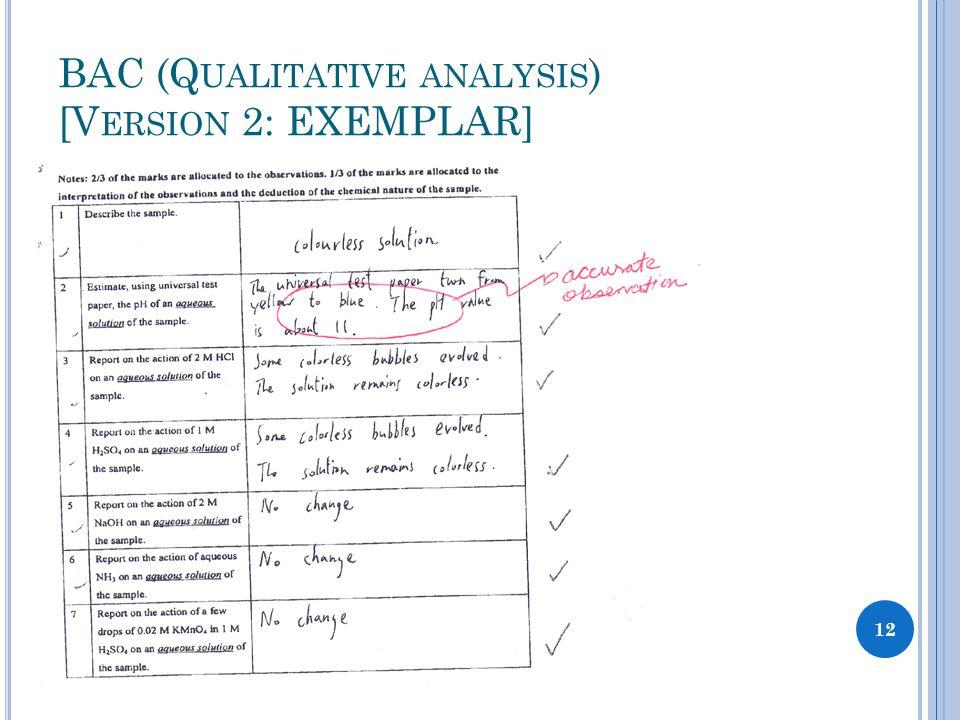 BAC (Q UALITATIVE ANALYSIS ) [V ERSION 2: EXEMPLAR] 12
