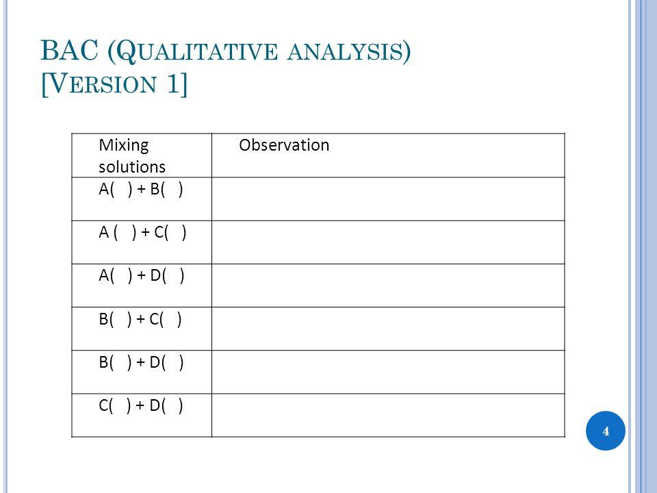 BAC (Q UALITATIVE ANALYSIS ) [V ERSION 1] Mixing solutions Observation A( ) + B( ) A ( ) + C( ) A( ) + D( ) B( ) + C( ) B( ) + D( ) C( ) + D( ) 4