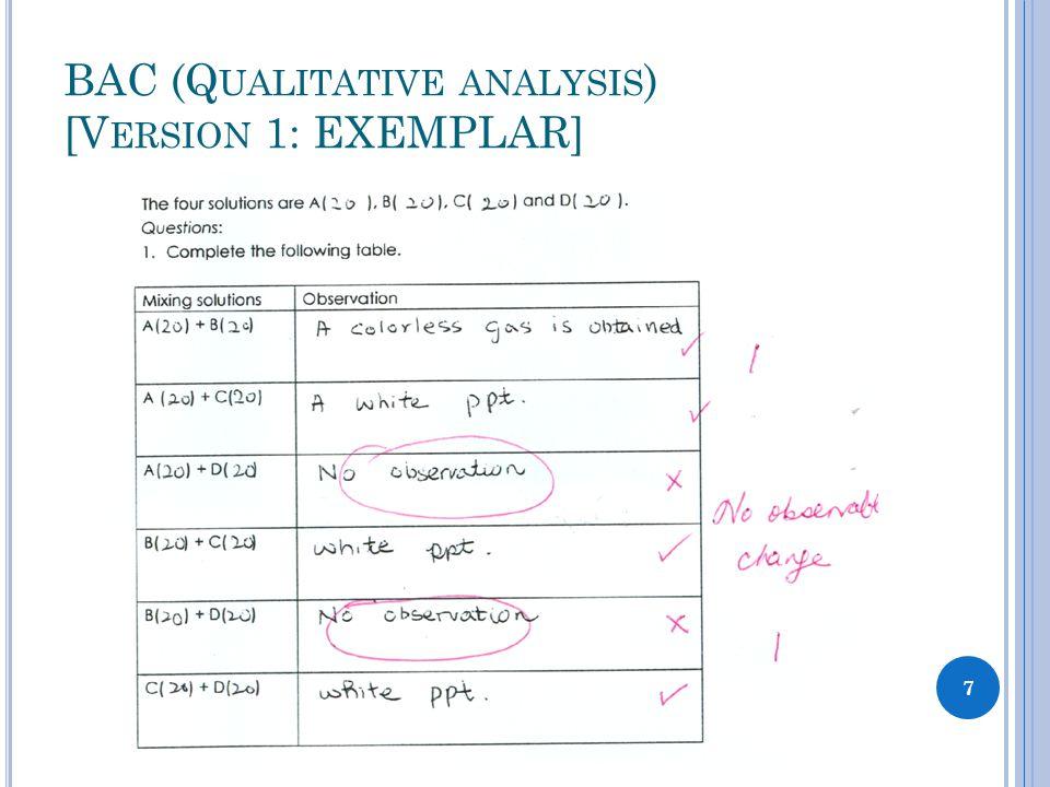BAC (Q UALITATIVE ANALYSIS ) [V ERSION 1: EXEMPLAR] 7