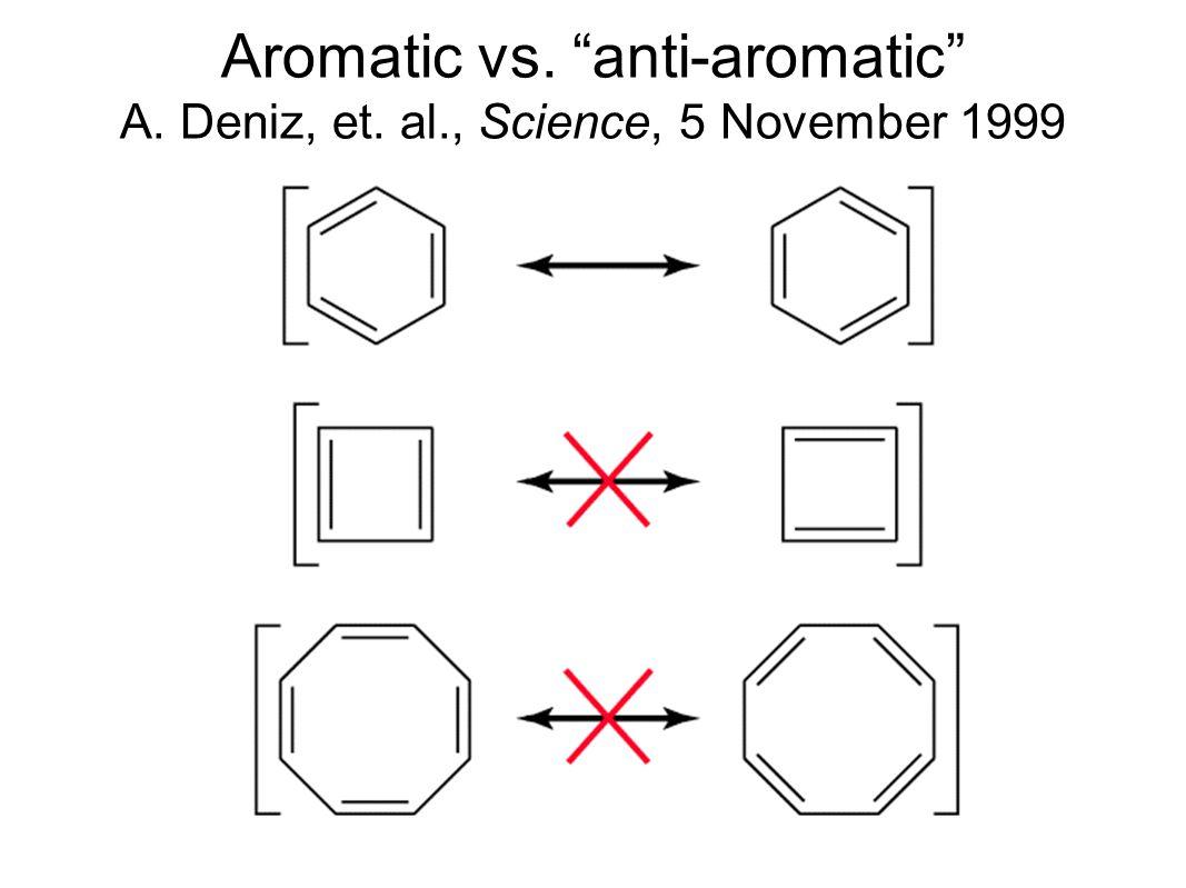 Aromatic vs. anti-aromatic A. Deniz, et. al., Science, 5 November 1999