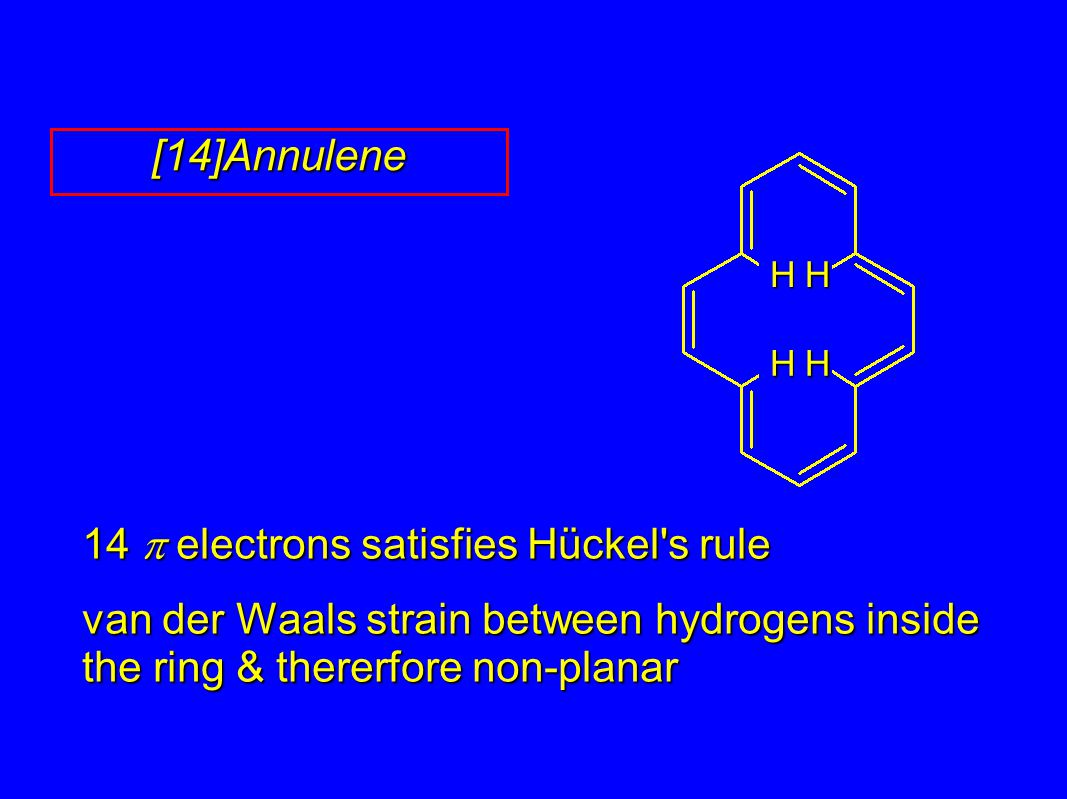 14  electrons satisfies Hückel s rule van der Waals strain between hydrogens inside the ring & thererfore non-planar [14]Annulene HH HH