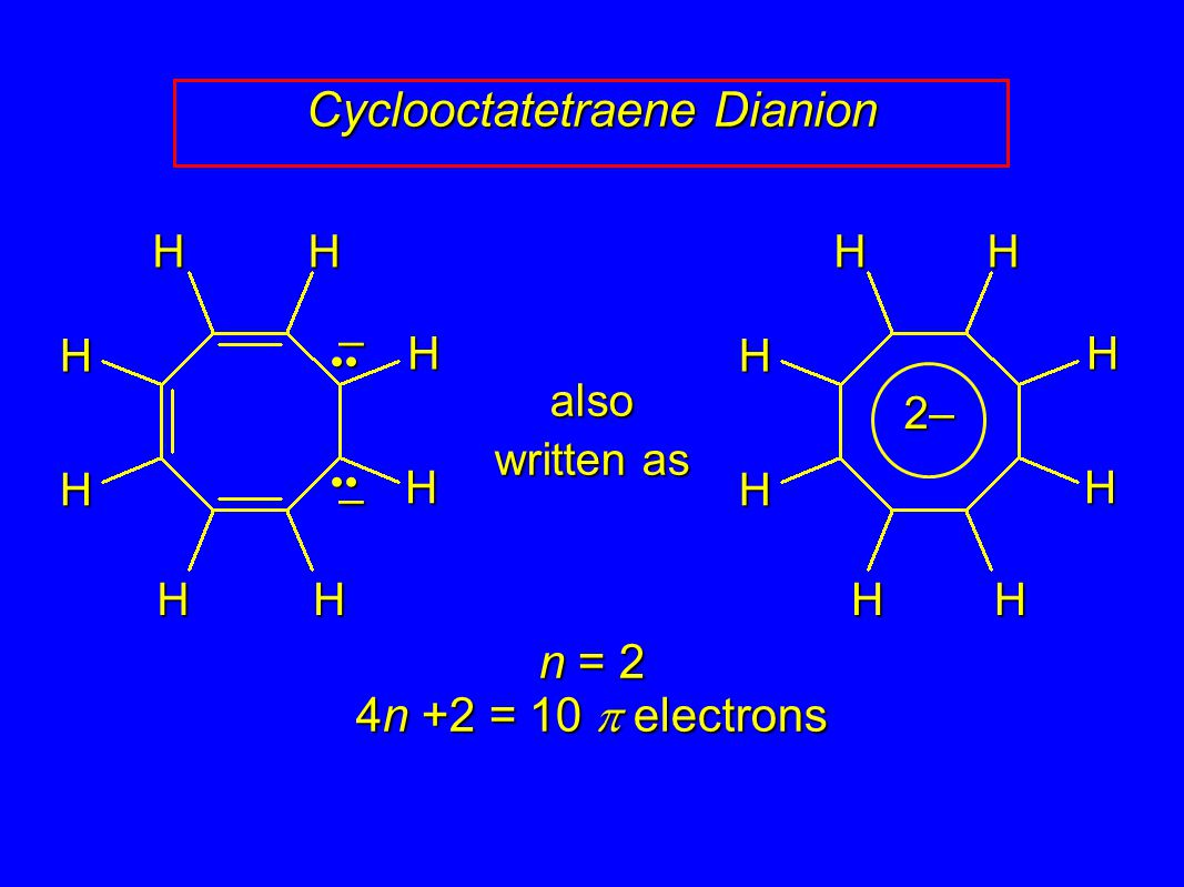 n = 2 4n +2 = 10  electrons Cyclooctatetraene Dianion HHHH H H H H H H H H HHHH 2– – – also written as