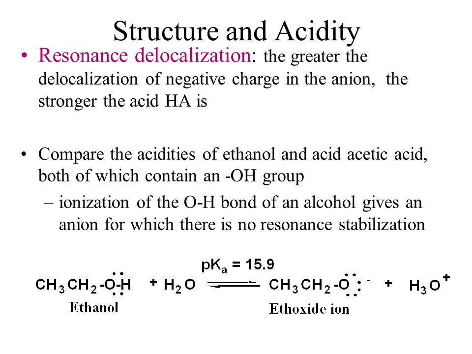 Structure and Acidity Resonance delocalization: the greater the delocalization of negative charge in the anion, the stronger the acid HA is Compare the acidities of ethanol and acid acetic acid, both of which contain an -OH group –ionization of the O-H bond of an alcohol gives an anion for which there is no resonance stabilization