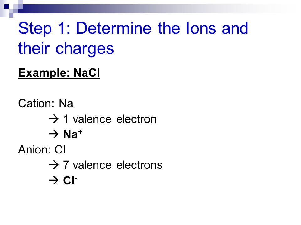 Step 1: Determine the Ions and their charges Example: NaCl Cation: Na  1 valence electron  Na + Anion: Cl  7 valence electrons  Cl -