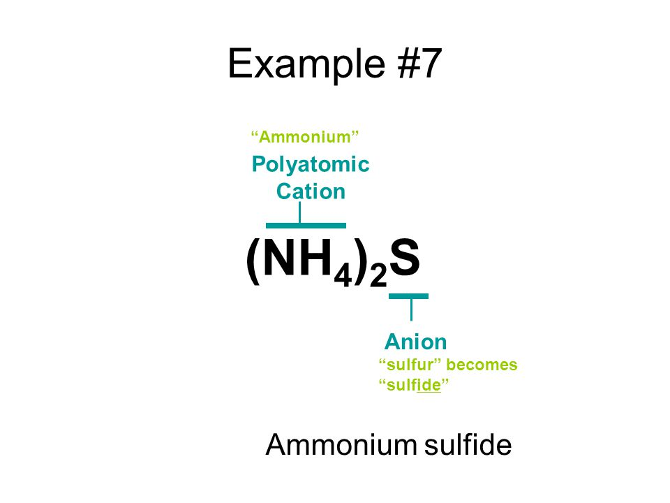 Example #7 Polyatomic Cation Anion Ammonium sulfur becomes sulfide (NH 4 ) 2 S Ammonium sulfide