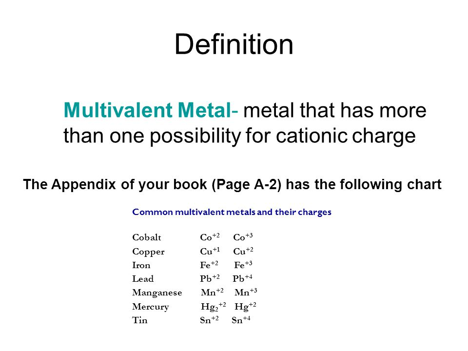 Definition Multivalent Metal- metal that has more than one possibility for cationic charge The Appendix of your book (Page A-2) has the following chart Common multivalent metals and their charges Cobalt Co +2 Co +3 Copper Cu +1 Cu +2 Iron Fe +2 Fe +3 Lead Pb +2 Pb +4 Manganese Mn +2 Mn +3 Mercury Hg 2 +2 Hg +2 Tin Sn +2 Sn +4