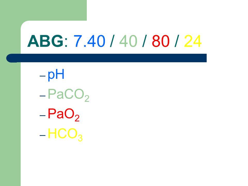 ABG: 7.40 / 40 / 80 / 24 – pH – PaCO 2 – PaO 2 – HCO 3