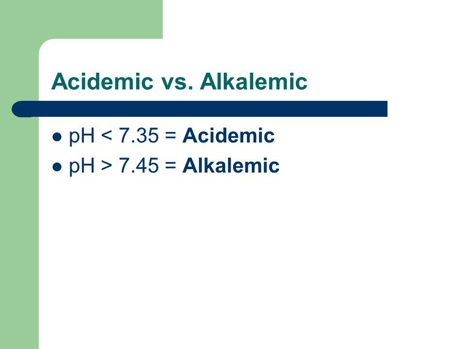 Acidemic vs. Alkalemic pH < 7.35 = Acidemic pH > 7.45 = Alkalemic