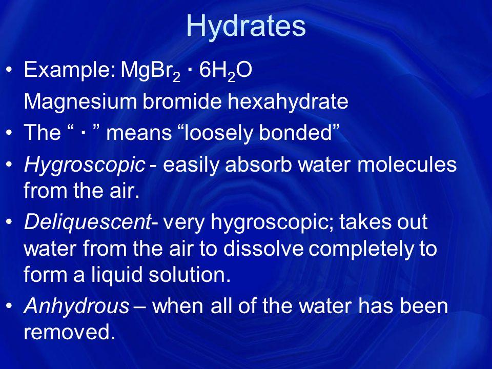 Hydrate Prefixes # of water molecules prefix# of water molecules prefix 1mono-6hexa- 2di-7hepta- 3tri-8octa- 4tetra-9nona- 5penta-10deca-