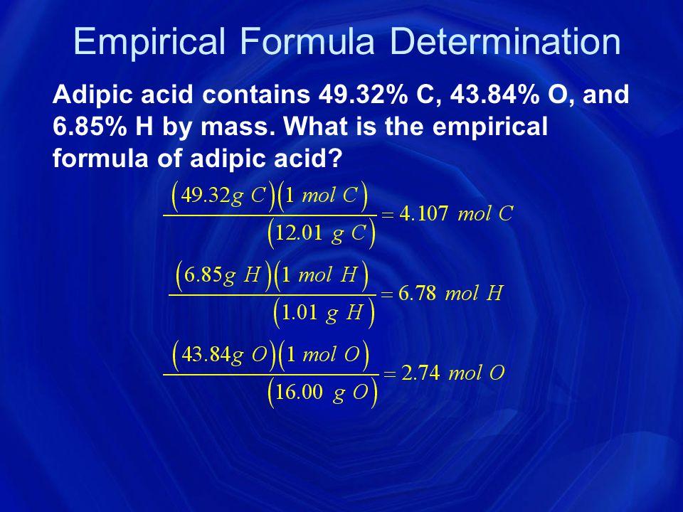 Empirical Formula Determination 1.Base calculation on assumption of 100 grams of compound.