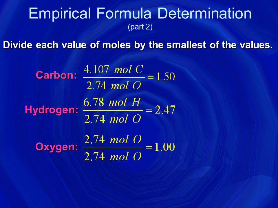 Empirical Formula Determination Adipic acid contains 49.32% C, 43.84% O, and 6.85% H by mass.