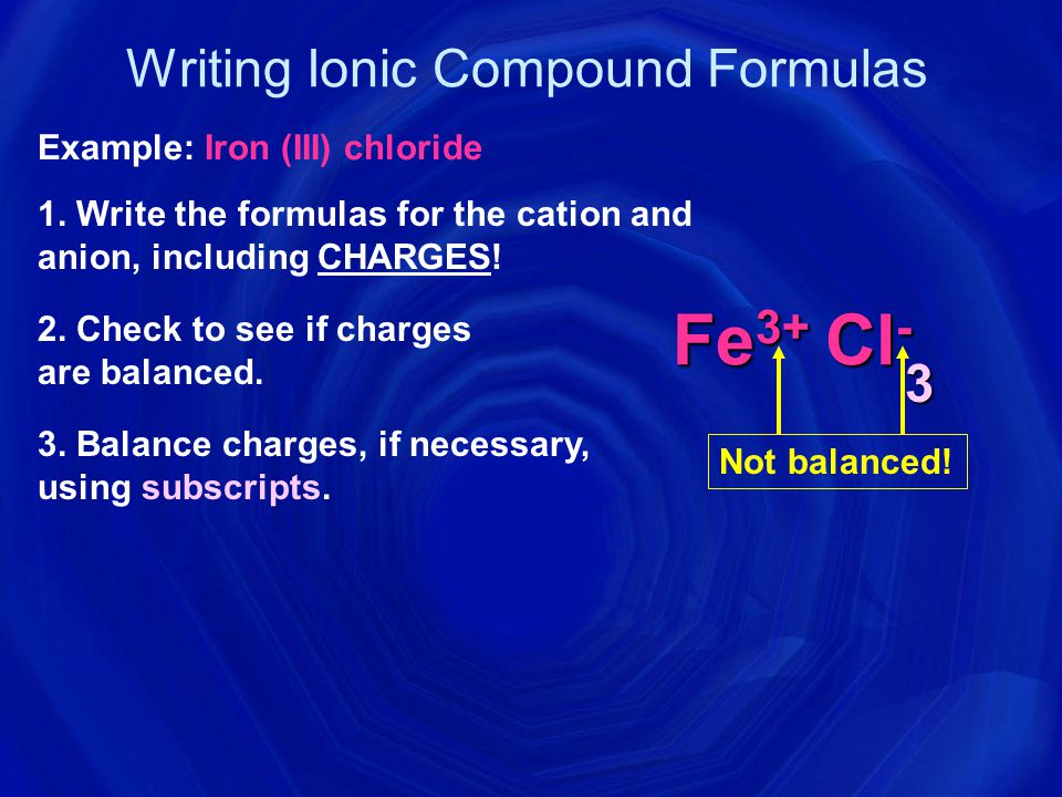 Formula Writing for Binary Ionic Compounds Magnesium Bromide Mg + 2 Br – 1 Mg 1 Br 2 MgBr 2 Calcium Sulfide Ca + 2 S – 2 Ca 2 S 2 CaS criss-cross the oxidation numbers to balance out the charge.
