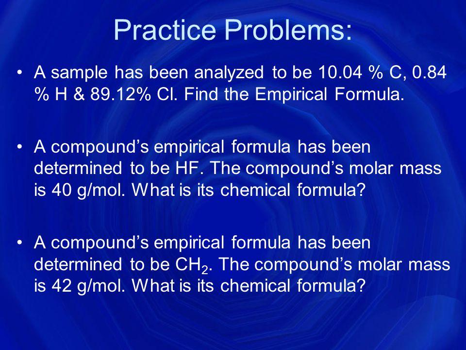 Ex: MM of molecular formula = 180 g/mol Using steps 1-4, you found that the empirical formula is CH 2 O.