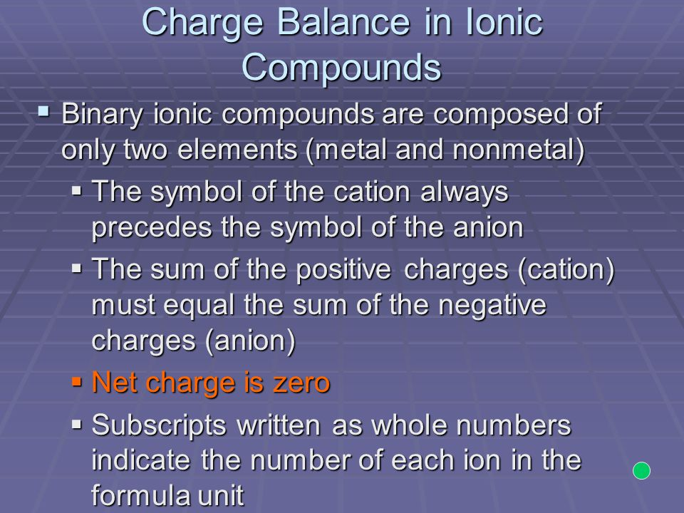 Charge Balance in Ionic Compounds  Binary ionic compounds are composed of only two elements (metal and nonmetal)  The symbol of the cation always pr