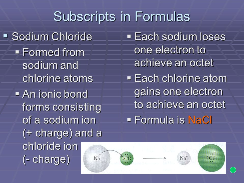 Subscripts in Formulas  Sodium Chloride  Formed from sodium and chlorine atoms  An ionic bond forms consisting of a sodium ion (+ charge) and a chloride ion (- charge)  Each sodium loses one electron to achieve an octet  Each chlorine atom gains one electron to achieve an octet  Formula is NaCl