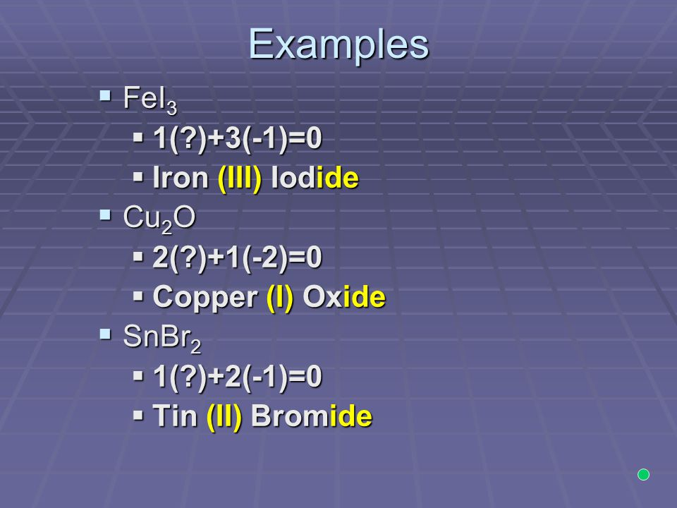 Examples  FeI 3  1(?)+3(-1)=0  Iron (III) Iodide  Cu 2 O  2(?)+1(-2)=0  Copper (I) Oxide  SnBr 2  1(?)+2(-1)=0  Tin (II) Bromide