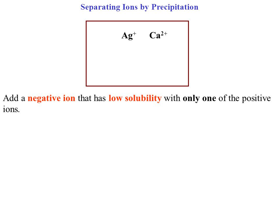 Separating Ions by Precipitation Ag + Ca 2+ Add a negative ion that has low solubility with only one of the positive ions.