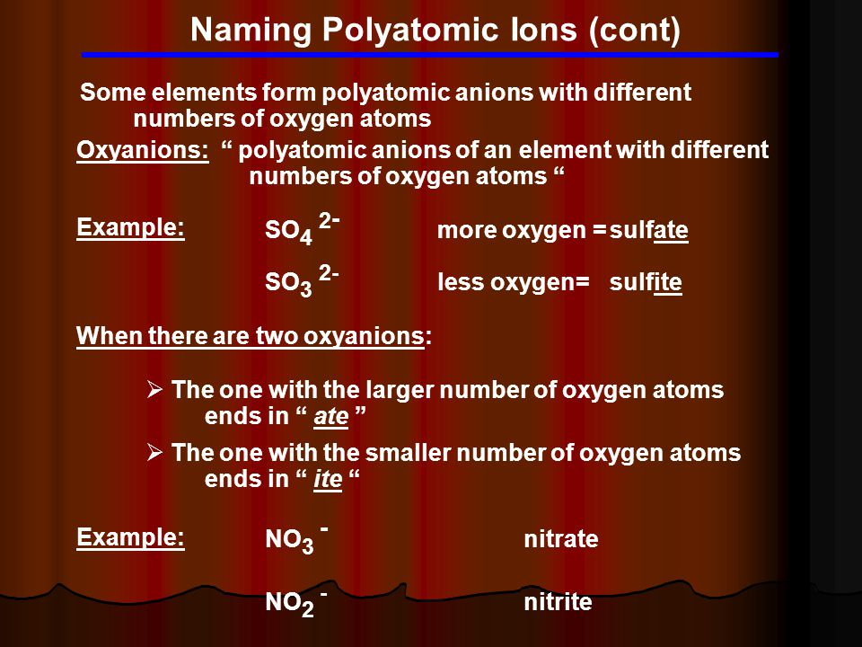 Naming Polyatomic Ions (cont) Some elements form polyatomic anions with different numbers of oxygen atoms Oxyanions: polyatomic anions of an element with different numbers of oxygen atoms Example: SO 4 2 - more oxygen =sulfate SO 3 2- less oxygen=sulfite When there are two oxyanions:  The one with the larger number of oxygen atoms ends in ate  The one with the smaller number of oxygen atoms ends in ite Example: NO 3 - nitrate NO 2 - nitrite