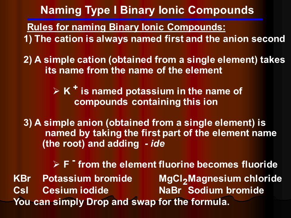 Naming Type I Binary Ionic Compounds Rules for naming Binary Ionic Compounds: 1)The cation is always named first and the anion second 2)A simple catio