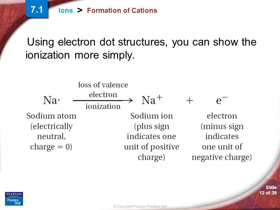 Slide 12 of 39 © Copyright Pearson Prentice Hall Ions > Formation of Cations Using electron dot structures, you can show the ionization more simply. 7