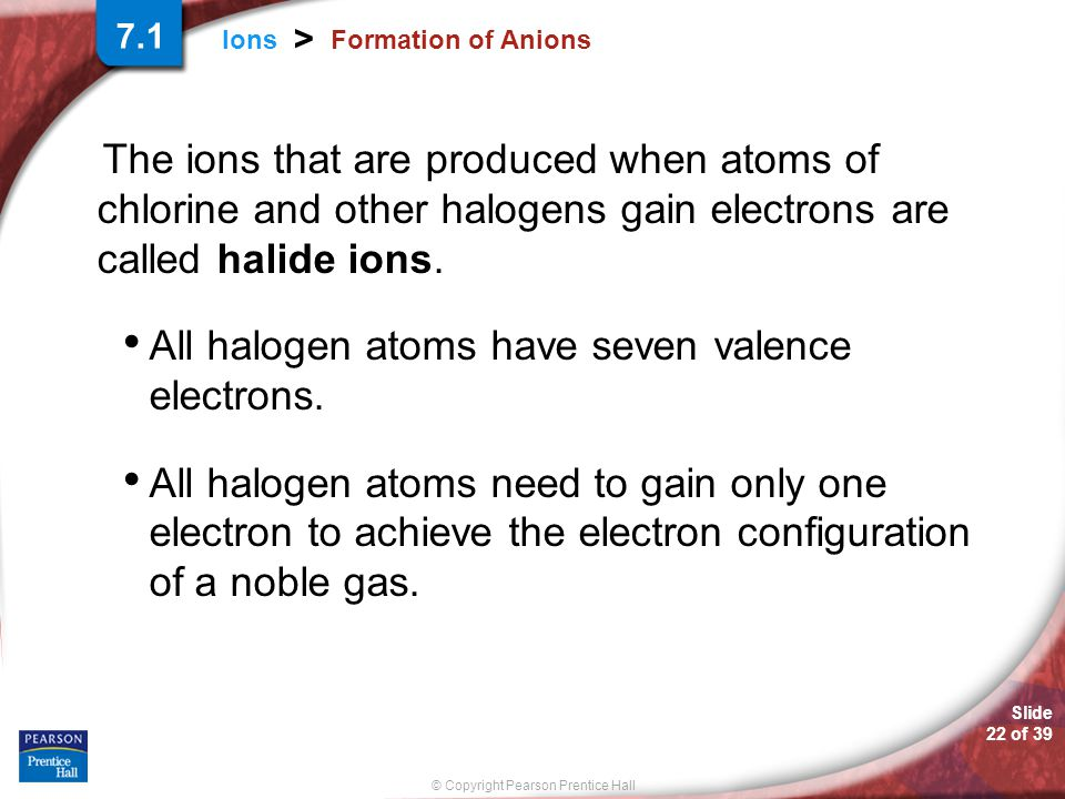 Slide 22 of 39 © Copyright Pearson Prentice Hall Ions > Formation of Anions The ions that are produced when atoms of chlorine and other halogens gain