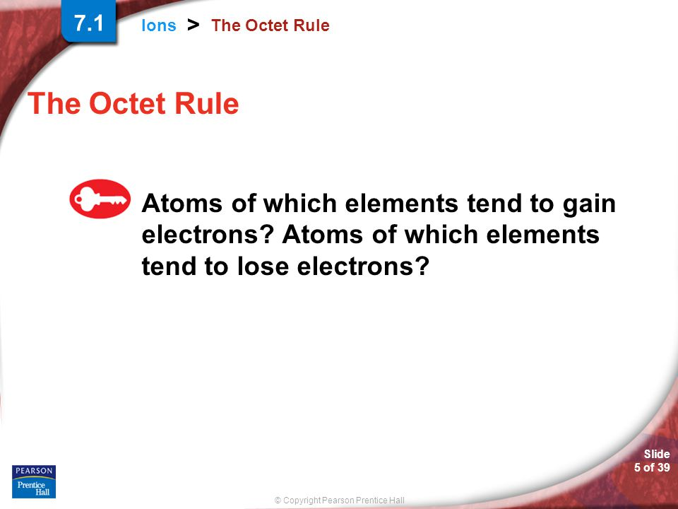 © Copyright Pearson Prentice Hall Ions > Slide 5 of 39 The Octet Rule Atoms of which elements tend to gain electrons? Atoms of which elements tend to