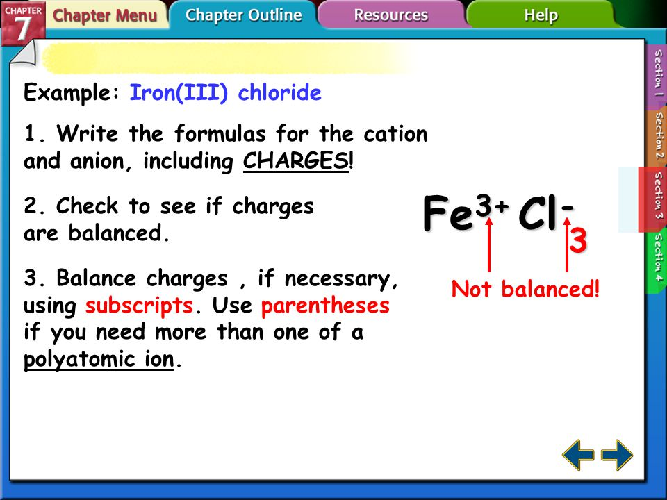 Example: Magnesium carbonate 1. Write the formulas for the cation and anion, including CHARGES.