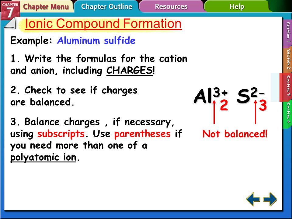 Ionic Compound Formation Example: Aluminum sulfide 1.