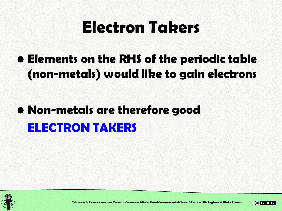 This work is licensed under a Creative Commons Attribution-Noncommercial-Share Alike 2.0 UK: England & Wales License Electron Takers Elements on the RHS of the periodic table (non-metals) would like to gain electrons Non-metals are therefore good ELECTRON TAKERS