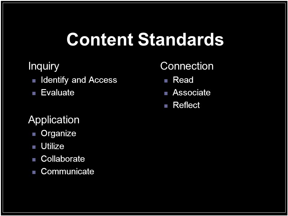 Content Standards Inquiry Identify and Access Evaluate Application Organize Utilize Collaborate Communicate Connection Read Associate Reflect