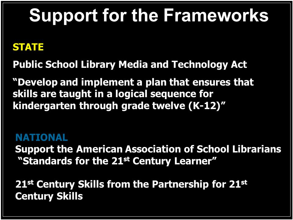 Support for the Frameworks STATE Public School Library Media and Technology Act Develop and implement a plan that ensures that skills are taught in a logical sequence for kindergarten through grade twelve (K-12) NATIONAL Support the American Association of School Librarians Standards for the 21 st Century Learner 21 st Century Skills from the Partnership for 21 st Century Skills