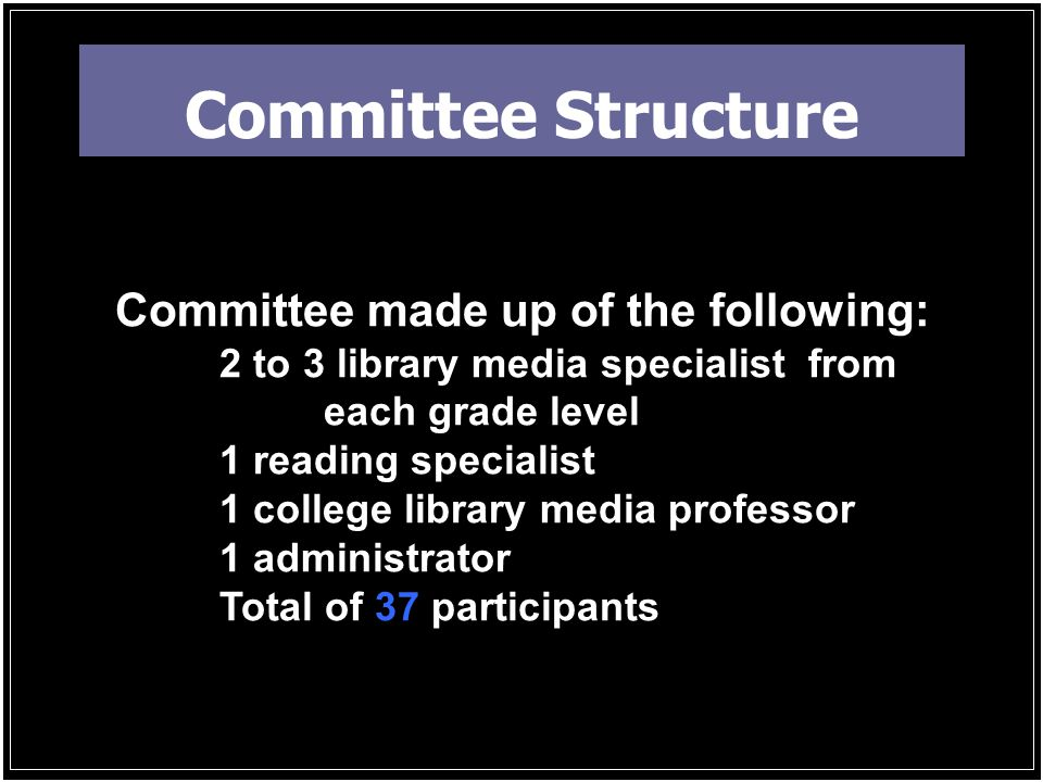 Committee Structure Committee made up of the following: 2 to 3 library media specialist from each grade level 1 reading specialist 1 college library media professor 1 administrator Total of 37 participants