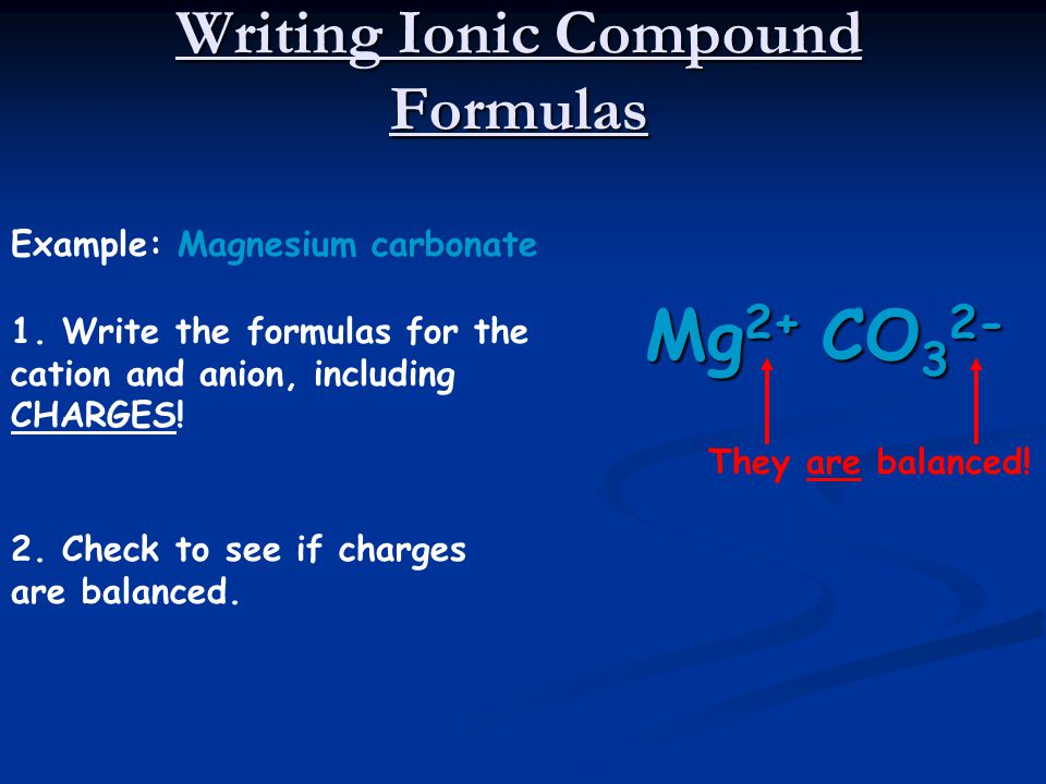 Writing Ionic Compound Formulas Example: Ammonium sulfate 1.