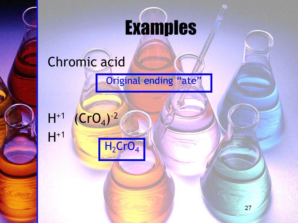 27 Examples Chromic acid H +1 (CrO 4 ) -2 H +1 Original ending ate H 2 CrO 4