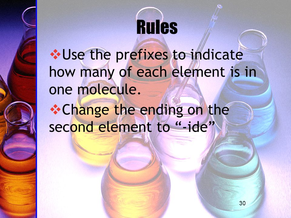 30 Rules  Use the prefixes to indicate how many of each element is in one molecule.