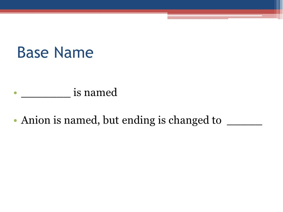 Base Name _______ is named Anion is named, but ending is changed to _____
