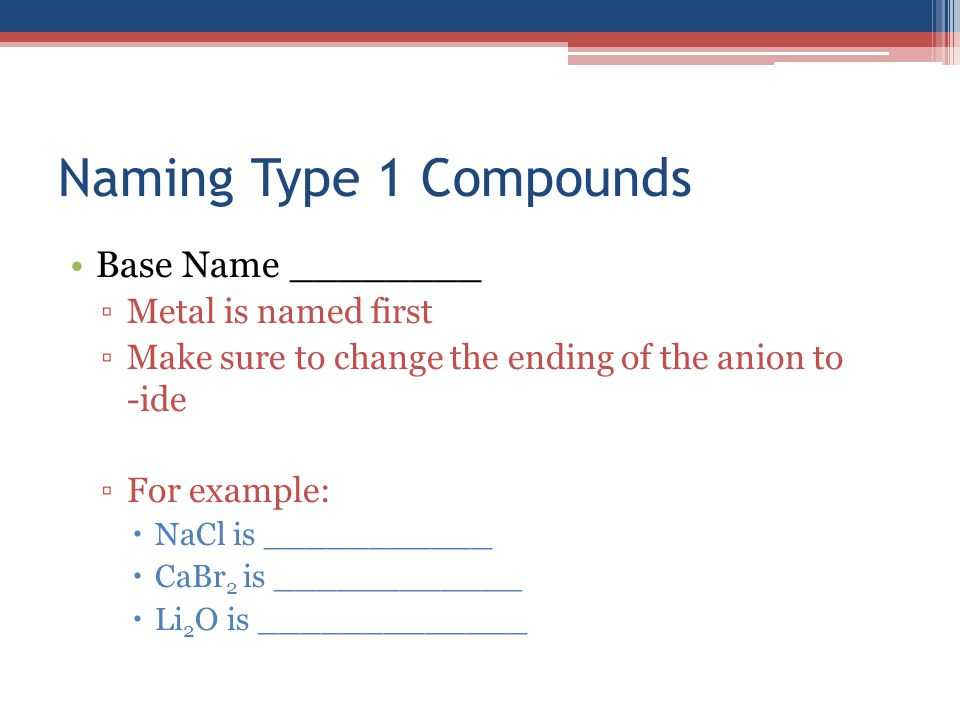Naming Type 1 Compounds Base Name ________ ▫Metal is named first ▫Make sure to change the ending of the anion to -ide ▫For example:  NaCl is ________