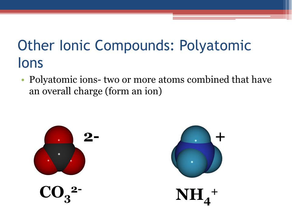 Other Ionic Compounds: Polyatomic Ions Polyatomic ions- two or more atoms combined that have an overall charge (form an ion) 2- CO 3 2- + NH 4 +