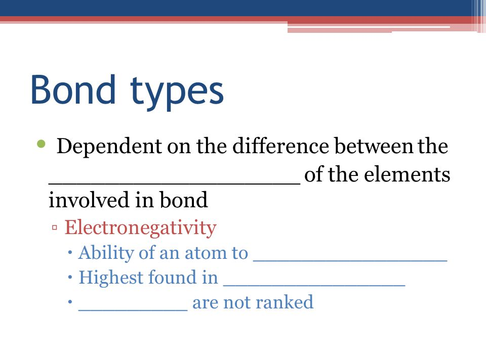Bond types Dependent on the difference between the __________________ of the elements involved in bond ▫Electronegativity  Ability of an atom to ________________  Highest found in _______________  _________ are not ranked