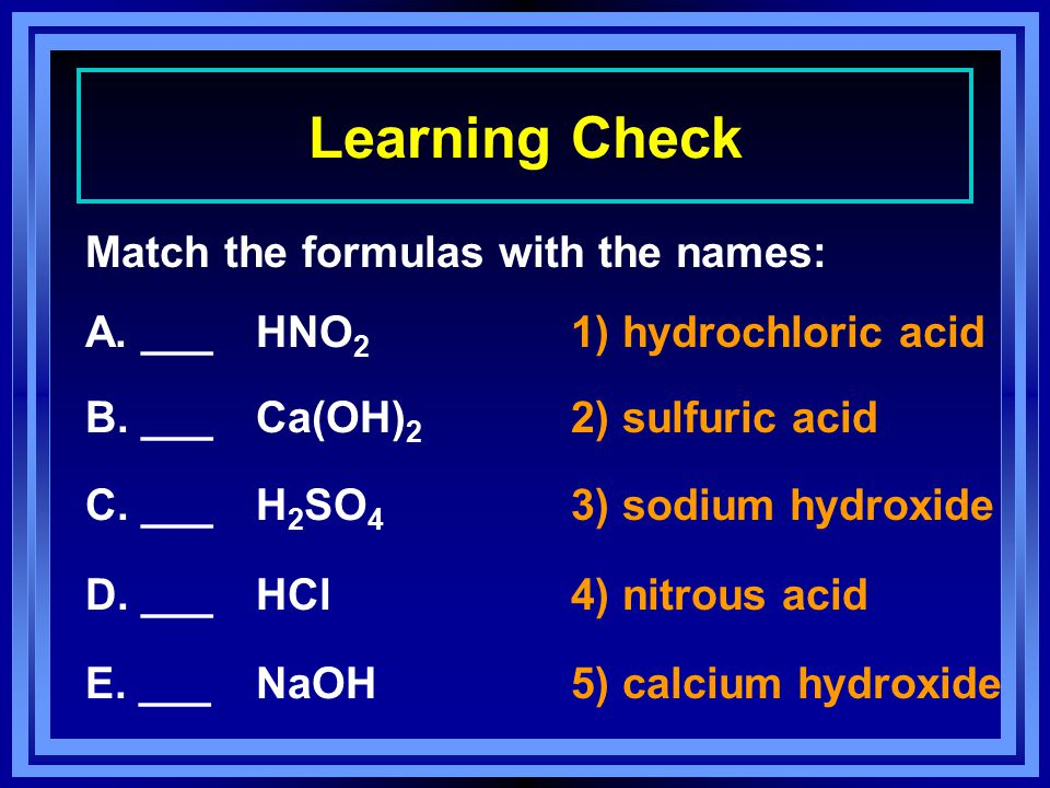 Learning Check Match the formulas with the names: A.