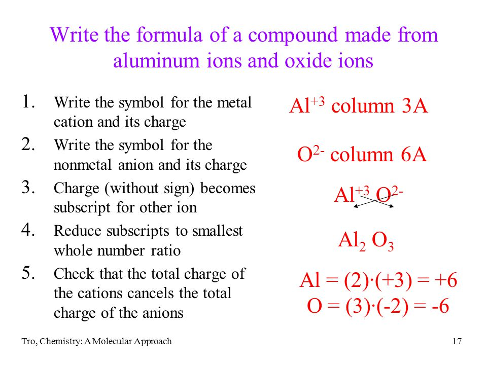 Tro, Chemistry: A Molecular Approach17 Write the formula of a compound made from aluminum ions and oxide ions 1.